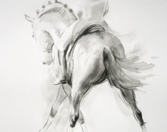 Original horse art equine art energy and movement equine horse ink sketch movement art drawing 'Sketch III' by H Irvine