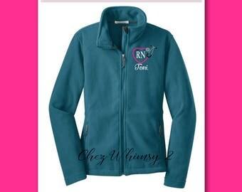 RN Jacket, Nurse Jacket, Monogrammed Fleece Jacket, Full Zip Fleece Jacket, Personalized Jacket, Heart Stethoscope, RN Jacket, Nurse Gift