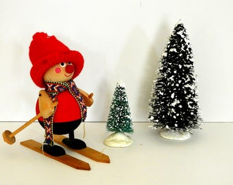 Swedish Tomte or Nisse Figurine- Winter Solstice- Skiing Tomte
