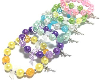 6 Fairy Wing Party Favor Small Beaded Charm Bracelets - Girls Mint, Pink, Yellow, Purple, Blue, Green Bracelets - Fairy Goodie Bag Gifts