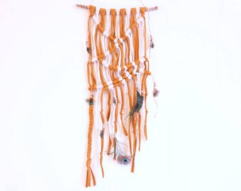 Macrame Wall Hanging with Peacock Feather