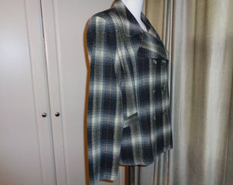 Vintage Timeless Classic  Black, White and Grey Plaid Double Breasted Jacket, Size 14 US Female, in Very Good Vintage Condition Made in USA