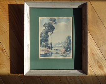 Vintage Lithographic Print of a Watercolor painting by The Artist Davis F. Schwartz, professionally framed and matted in Good Condition