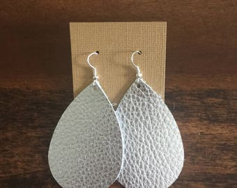 Classic silver Leather Earrings