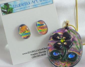 THE LAST VIOLET flower dichroic fused glass jewelry pendant with necklace and earrings