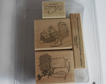 Stampin Up Stamps, Country Morning, Chicken stamp, chick stamp, flowers in jars stamp, card making supply, rubber stamps, wood block stamps