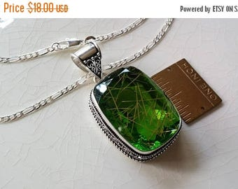 Etsy On Sale Rutiled Faceted Green Tourmaline Pendant 55x27mm, including Bail, On 30in Sterling Silver Figaro Chain,
