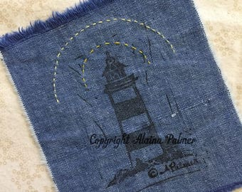 Handprinted Hand Carved Nautical Beach Lake Ocean Lighthouse on Denim Fabric Label Patch with Embroidery Rays Details Yellow Stitchery