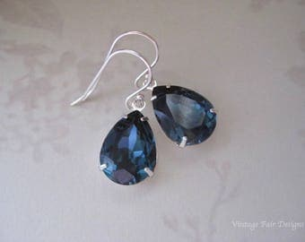 Dainty Blue Earrings - Montana Blue Crystals from Swarovski®  Blue Earrings - Something Blue Earrings - gift for her