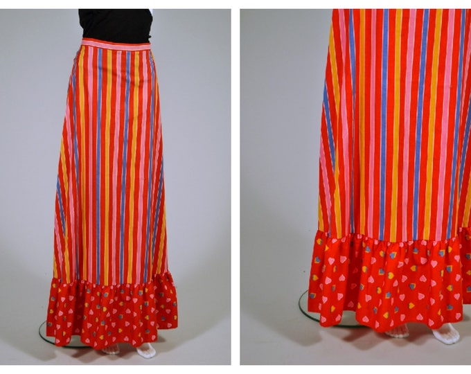Rainbow Bright Vintage 70's Poly Cotton Maxi Skirt Hearts and Stripes