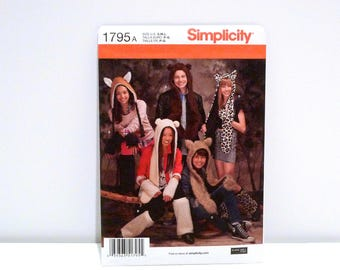 Animal Hat Scarf Leg Warmers Arm Bands Simplicity 1795 Never Used Sewing Pattern FF Uncut Cosplay Winter Unisex Boys Girls Adults