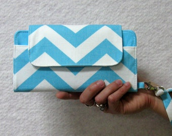 Chevron Aqua and White iPhone 6 Wallet Clutch Case Accessory...Matching Wristlet