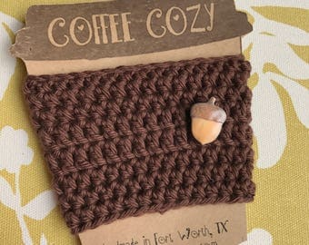 Reusuable Coffee Cozy with Acorn Button