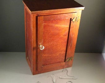 American Folk Art Antique Wooden Doll Wardrobe Cabinet / 16+ inches tall