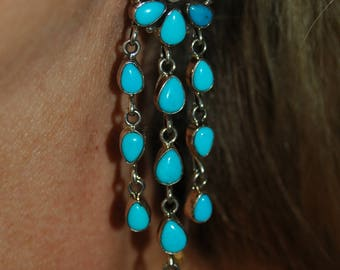 Long Lovely Vintage Navajo Emma Lincoln RIP Sleeping Beauty Turquoise & Sterling Dangle Cluster Chandelier Earrings
