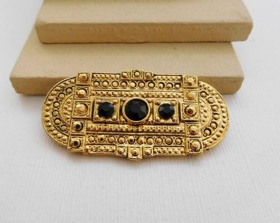 Vintage Black Rhinestone Yellow Gold Tone Etruscan Style Brooch Pin B23
