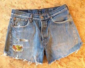 Levi's Vintage Cut Offs 501 Shorts 10- 12 W32 Boho Festival Patch