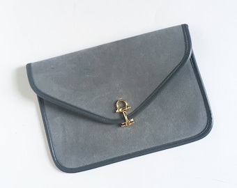 Vintage grey clutch metal buckle