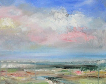 Original Oil Painting: Abstracted landscape of distant seaside vista