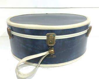 Vintage Round Samsonite Blue Navy Suitcase Marbled Luggage with Key