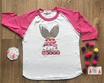 Girls Mermaid Shirt, Personalized Shirts for Girls, Girls Mermaid Outfit, Mermaid Birthday Gift, Girls Mermaid Shirts, Mermaid Party