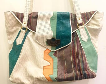 Vintage 80s Patchwork Leather Shoulder Bag (Large) by Sharif  Made in USA