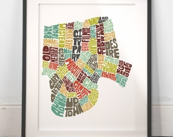 New Orleans typography map, new orleans map art, new orleans neighborhoods, new orleans print, new orleans gift,hand drawn typography series