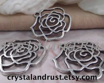 3pc. Large Open Rose Charms --- Antique Silver Color --- CHM - 155AS