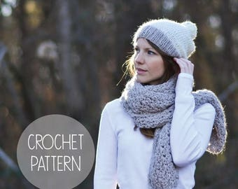 FLASH SALE crochet pattern - easy crochet open scarf - the penelope scarf