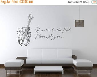 SALE Music wall decal guitar mural sticker living room musical notes A007
