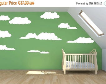 SALE LARGE cloud wall decal, 15 clouds mural wall stickers