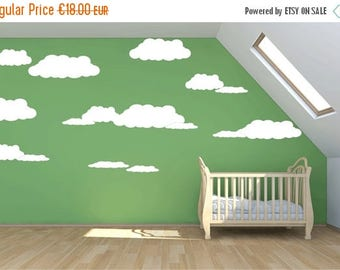 SALE LARGE cloud wall decal, 7 clouds mural wall stickers