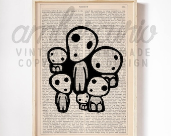 Tree Spirits in Black and White Tiny Mythology Inspired Studio Ghibli Print on an Unframed Upcycled Bookpage