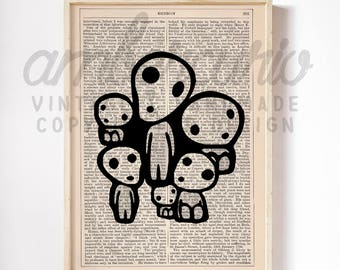 Kodama Forest Spirits, Studio Ghibli Inspired, Japanese Folklore, Princess Mononoke Art Print on an Antique, Up-Cycled, Book Page, Unframed