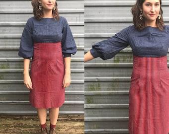 1960s denim & canvas pencil dress w/ bishop sleeves