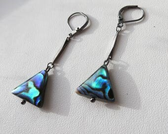 Abalone Triangle Gunmetal Leverback Earrings
