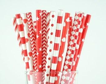 Red Paper Straw Mix/Striped/Chevron/Diamond/Checkered/Circle Straws/Party Decor/Cake Pop Sticks/Party Supplies/Wedding/Baby Shower