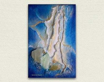 Breakthrough II, Original Mixed Media painting, 3d art, heart chakra, blue gold, green calcite, crystal painting