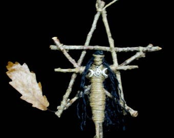 Handmade Pagan Oak Witch and Oak Pentagram . Strength, Power, Wisdom & Protection.