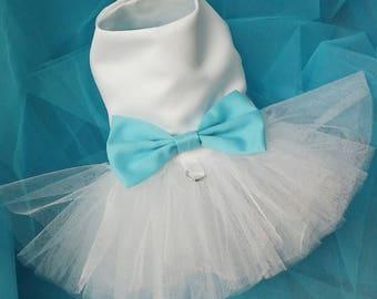 Dog White Wedding Dress (or your choice of color), White Dog Wedding Tutu Dress -  Bridesmaid Dog Dress Tutu, bridal dog Dress