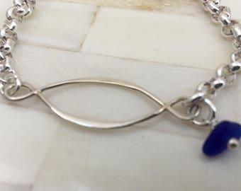 Cobalt Blue Sea Glass Infinity Bracelet, Sterling Silver Infinity Link Charm Bracelet, Sea Glass Infinity Love Knot, Love forever bracelet