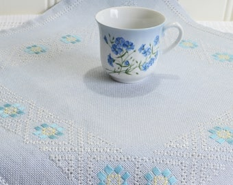 Blue and yellow linen doily, vintage Swedish embroidery