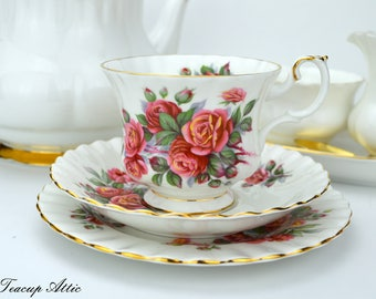 Royal Albert Centennial Rose Teacup And Saucer Trio, Canada Celebration, English Bone China, Wedding Anniversary,  ca. 1967-1981