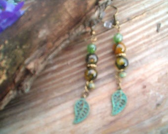 Woodland Earrings, Antique Brass Earrings, Mossy, Patina, Fire Agate Green Gold Color Beads. Boho, Rustic, Handcrafted