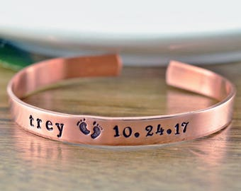 Hand stamped jewelry personalized gifts by luckyhorngifts on etsy mothers bracelet personalized baby feet cuff bracelet new mommy bracelet new mom jewelry negle Gallery