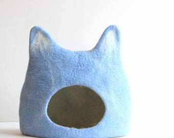 Cat bed - cat cave - cat house - eco-friendly handmade felted wool cat bed - sky blue with natural white - made to order
