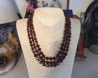Vintage , Amber Glass Bead Necklace, 3- Strand