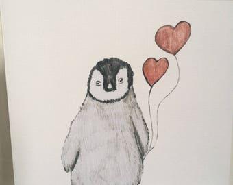 Penguin, penguin valentine card, for penguin lovers, for valentines, baby penguin