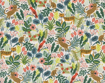 PRESALE - Menagerie - Jungle in Natural Unbleached - Anna Bond for Cotton + Steel - 8029-02 - 1/2 Yard