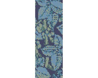 Abstract Leaves Peyote Bead Pattern, Bracelet Cuff, Bookmark, Seed Beading Pattern Miyuki Delica Size 11 Beads - PDF Instant Download